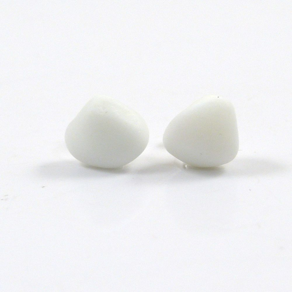 White Milk Sea Glass and Sterling Silver Stud Earrings