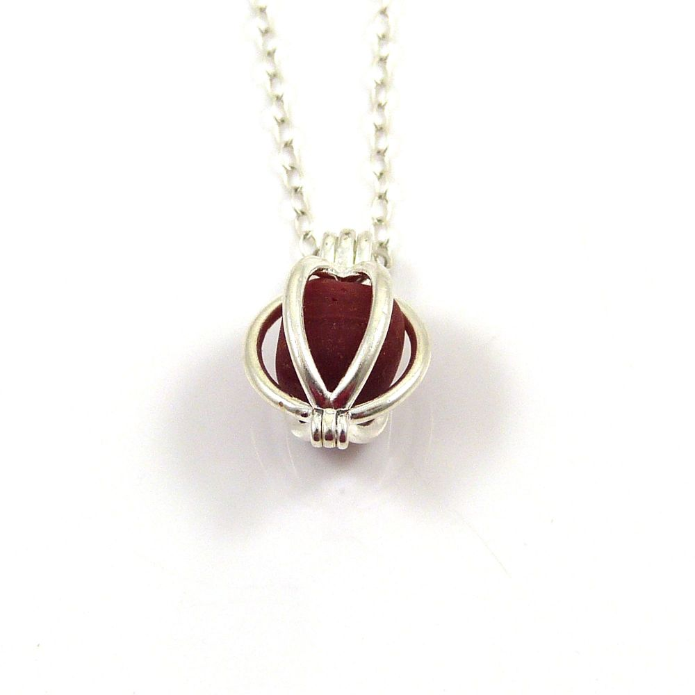 Tiny Round Locket with a Ruby Red Milk Sea Glass Nugget Necklace