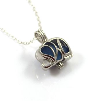 Tiny Sapphire Blue Sea Glass Elephant Locket Necklace L88