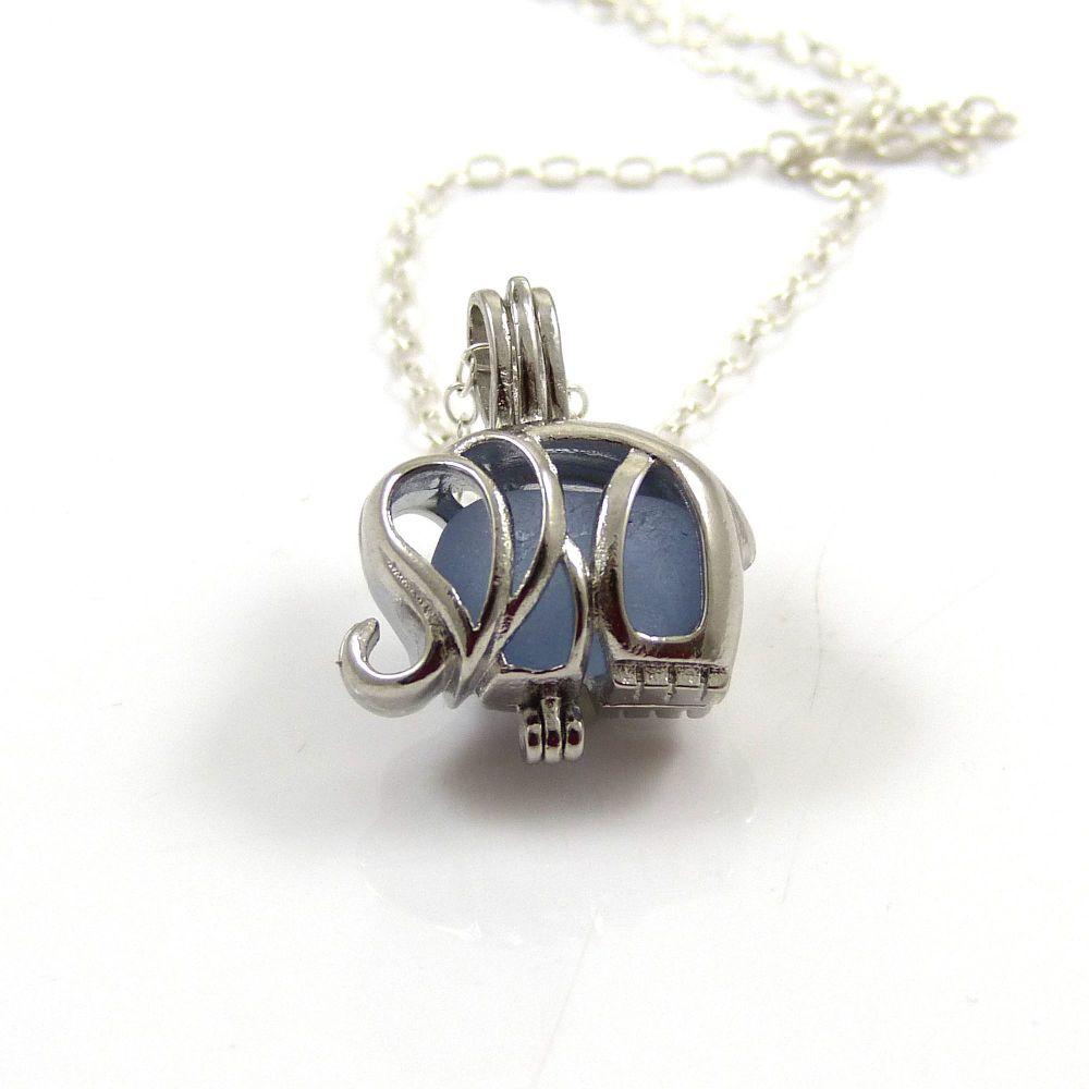 Tiny Sky Blue Sea Glass Elephant Locket Necklace L89