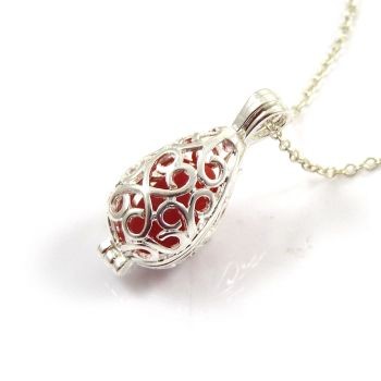 Red Milk Sea Glass from Seaham Beach and  Silver Filigree Locket Necklace