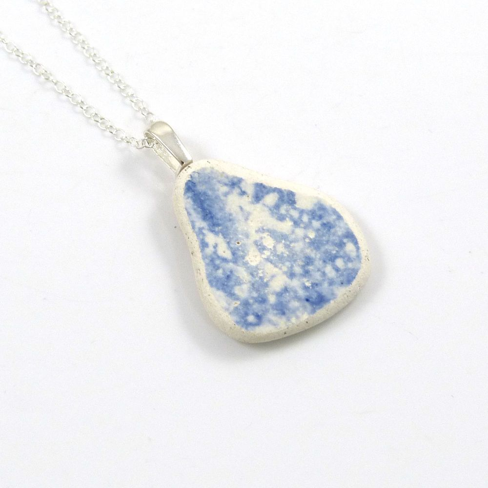 Blue and White English Beach Pottery Pendant Necklace JILL