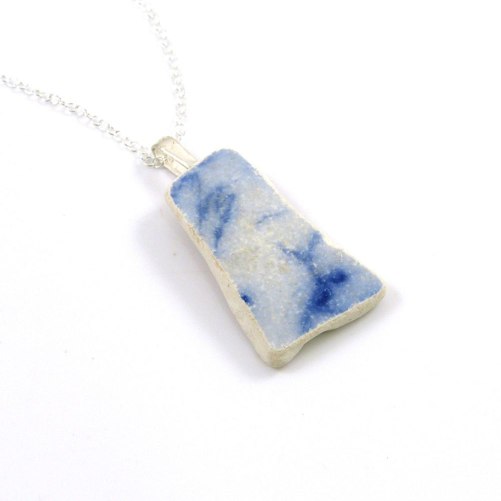 Blue on Blue English Beach Pottery Pendant Necklace ANYA