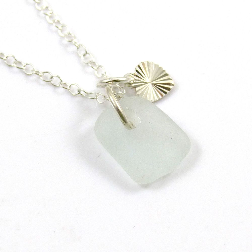 Seamist Sea Glass and Sterling Silver Stripey Heart Necklace