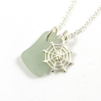 Seafoam Sea Glass and Sterling Silver Spiders Web Necklace