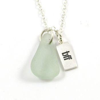 Seafoam Sea Glass and Sterling Silver bff Charm Necklace