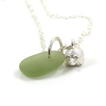 Pale Sea Green Sea Glass and Sterling Silver Hedgehog Necklace