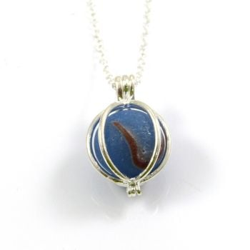 Sea Glass Marble Locket Necklace L94
