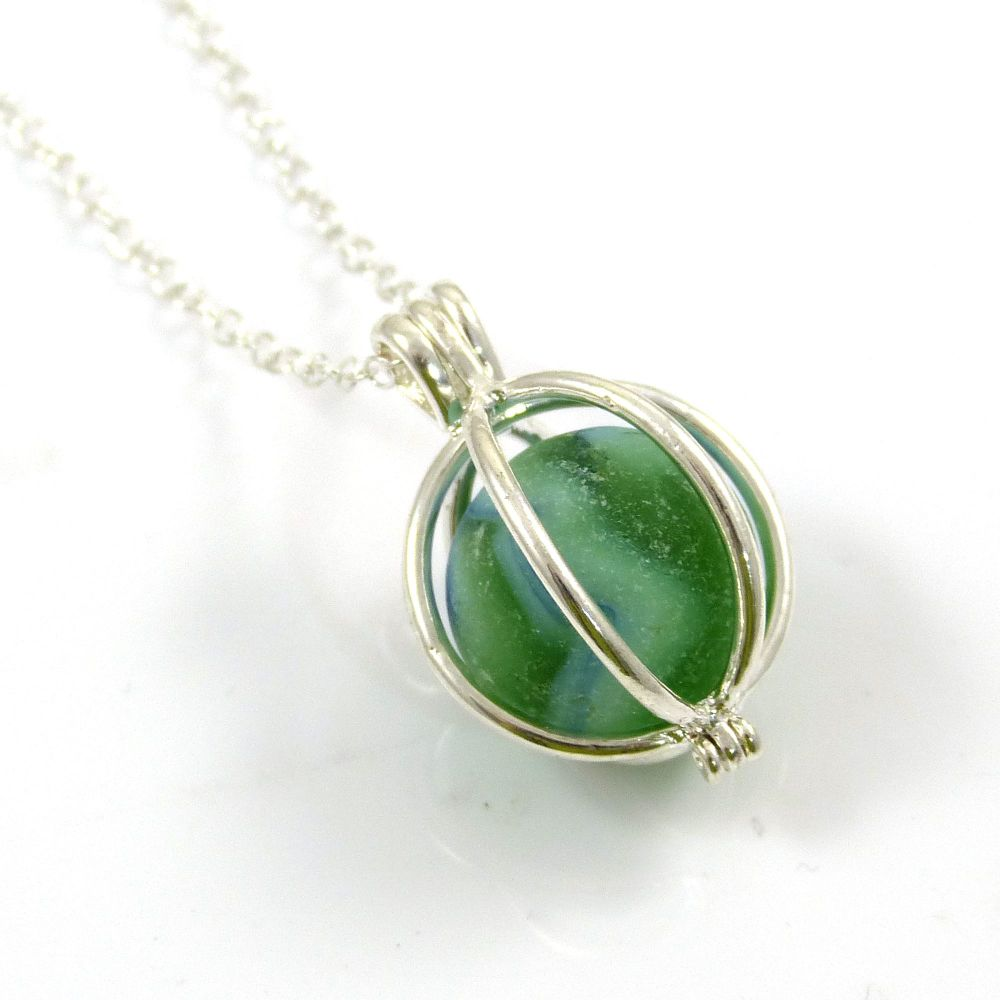 Sea Green Sea Glass Marble Locket Necklace L95