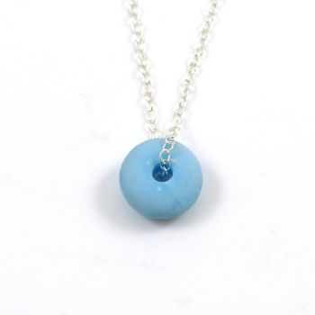 Pastel Blue Milk Glass Bead and Silver Necklace