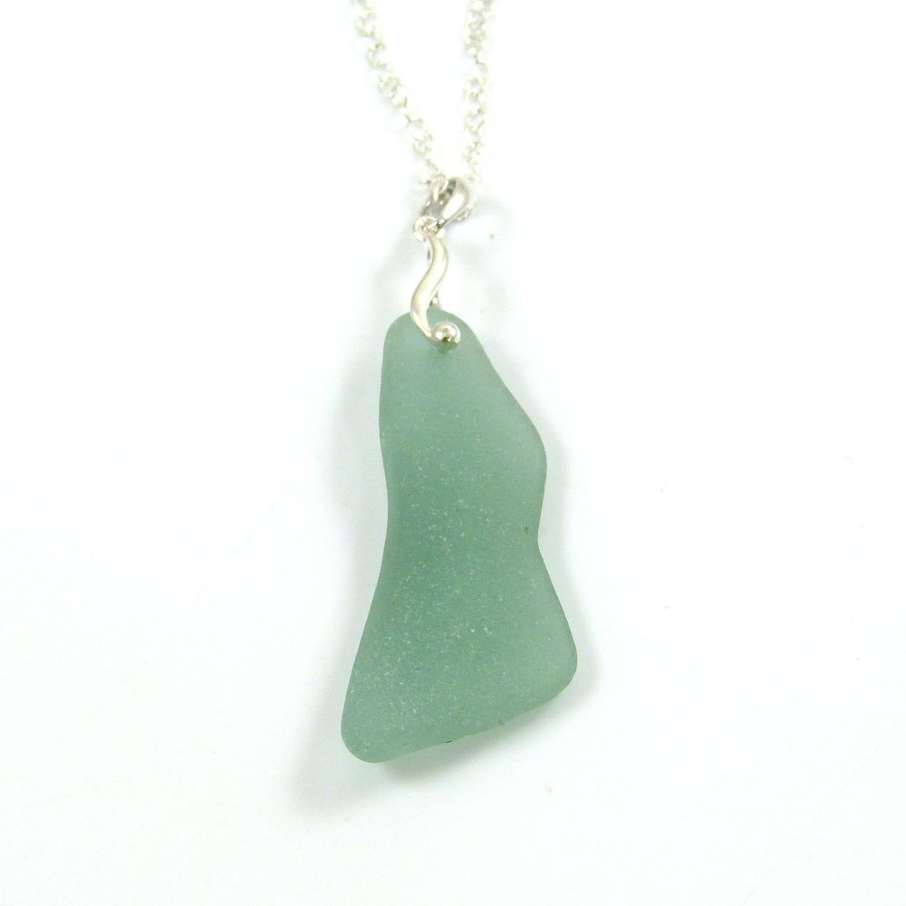 Light Teal Green Sea Glass and Silver Necklace  ADRIENNE