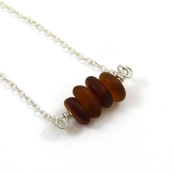 Hand-drilled Chocolate Brown Sea Glass Necklace SAGA