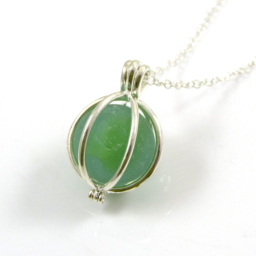 Spring Green Sea Glass Marble Locket Necklace L96