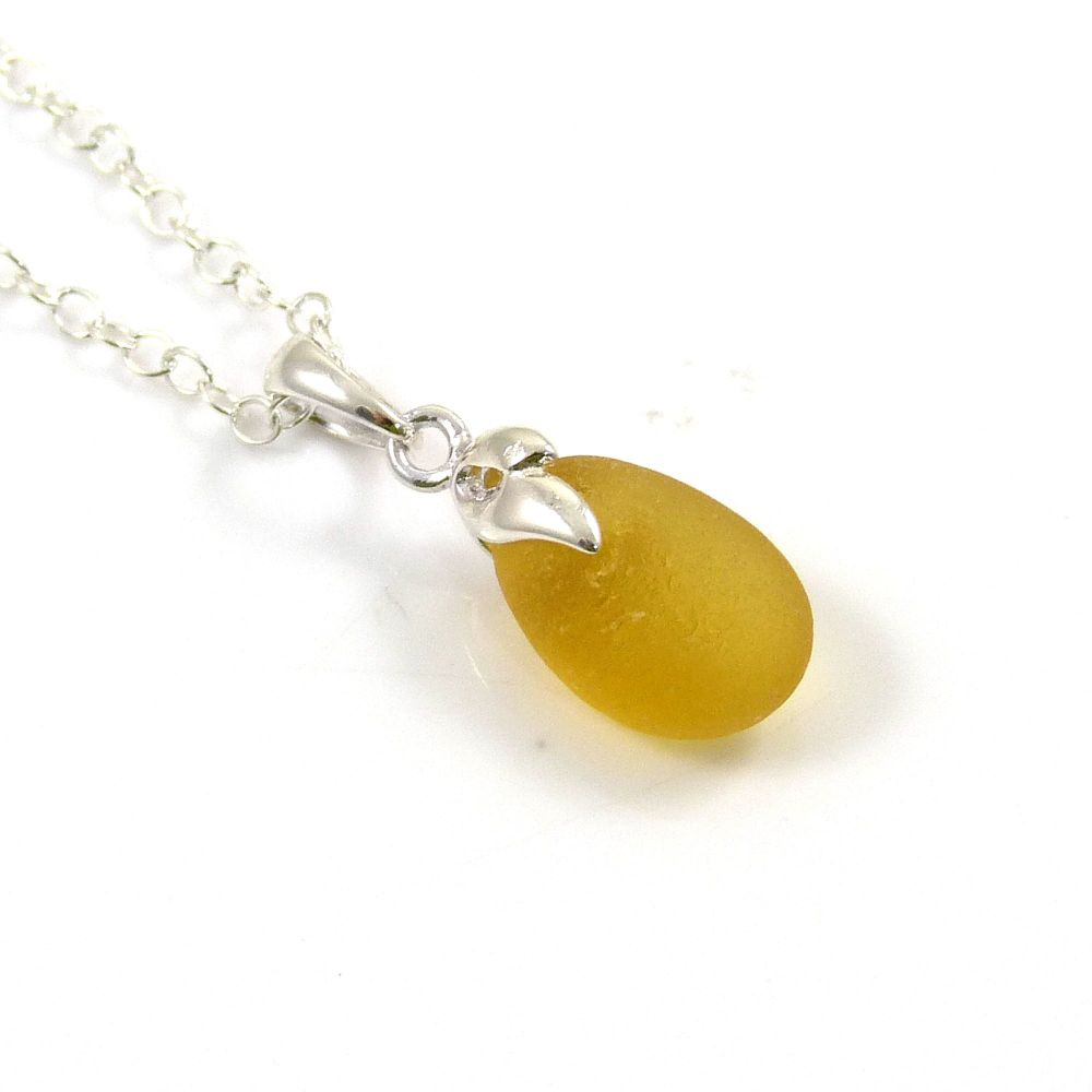 Sunflower Yellow English Sea Glass Necklace ESTHER