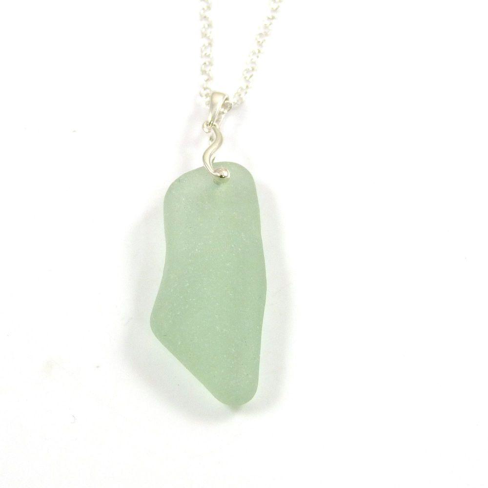 Green Seafoam Sea Glass and Silver Necklace ALYSSA