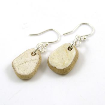 One of a Kind Sea Pottery and Sterling Silver Earrings