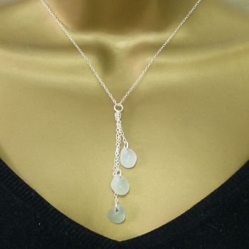 Shades of Blue Sea Glass and Sterling Silver Cluster Necklace LYDIE III