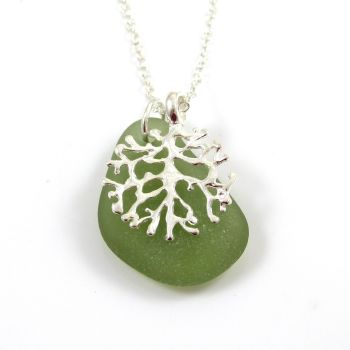 Green Sea Glass and Silver Coral Charm Necklace