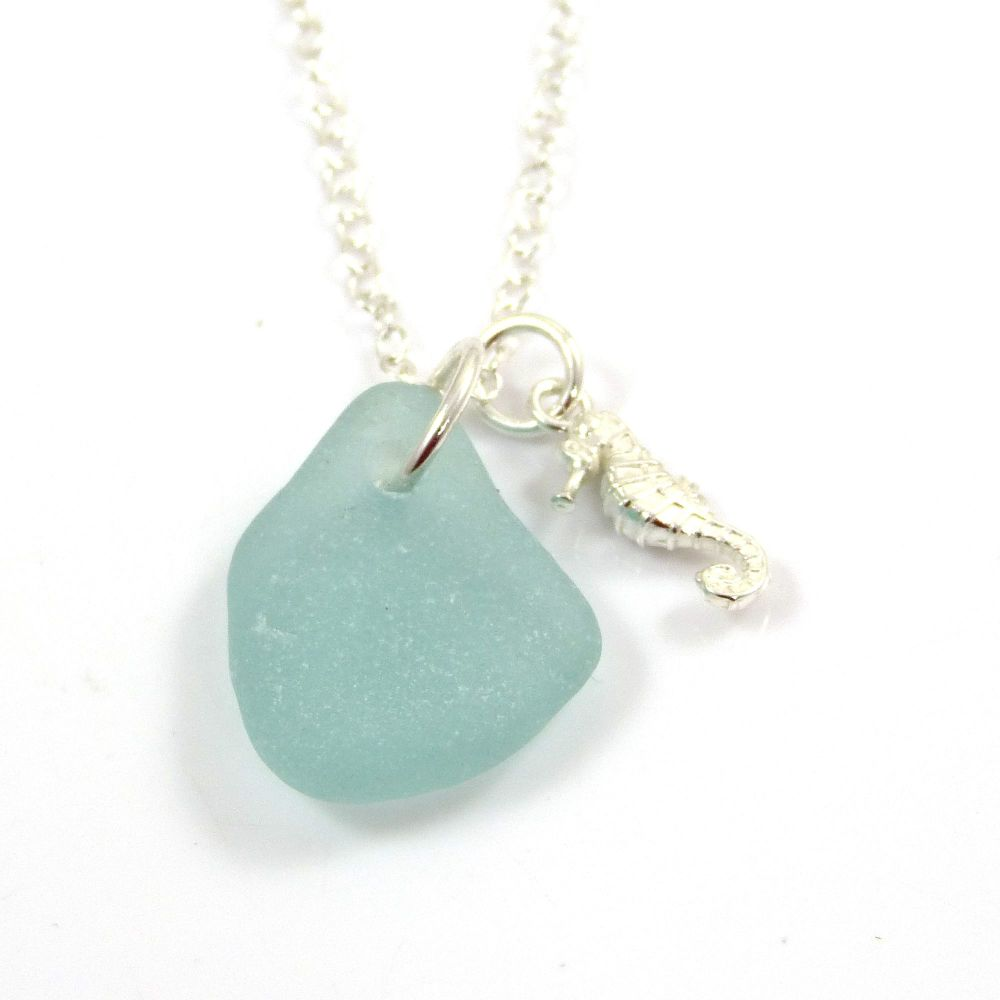 Aqua Sea Glass and Sterling Silver Seahorse Charm Necklace ch317