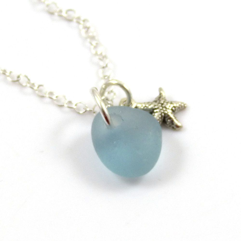 Tiny Steel Blue  Sea Glass and Sterling Silver Starfish Necklace