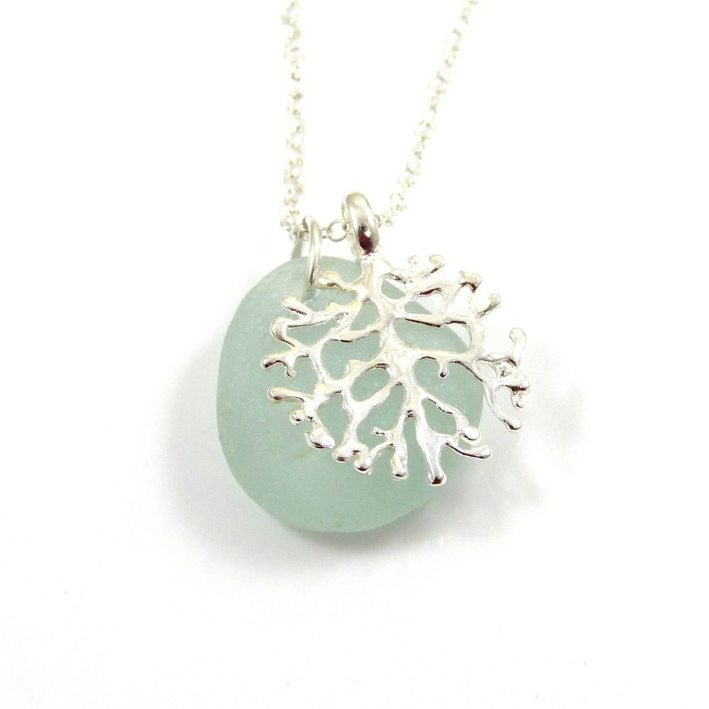 Seafoam Sea Glass and Silver Coral Charm Necklace CORAL
