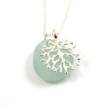 Seafoam Sea Glass and Silver Coral Charm Necklace CORAL