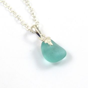 Tiny Turquoise Sea  Glass Necklace