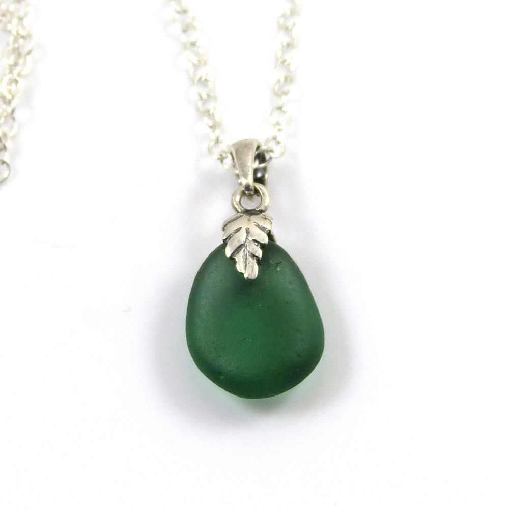 Tiny Teal Sea  Glass Necklace