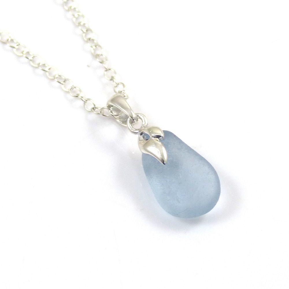 Tiny Ice Blue Sea  Glass Necklace