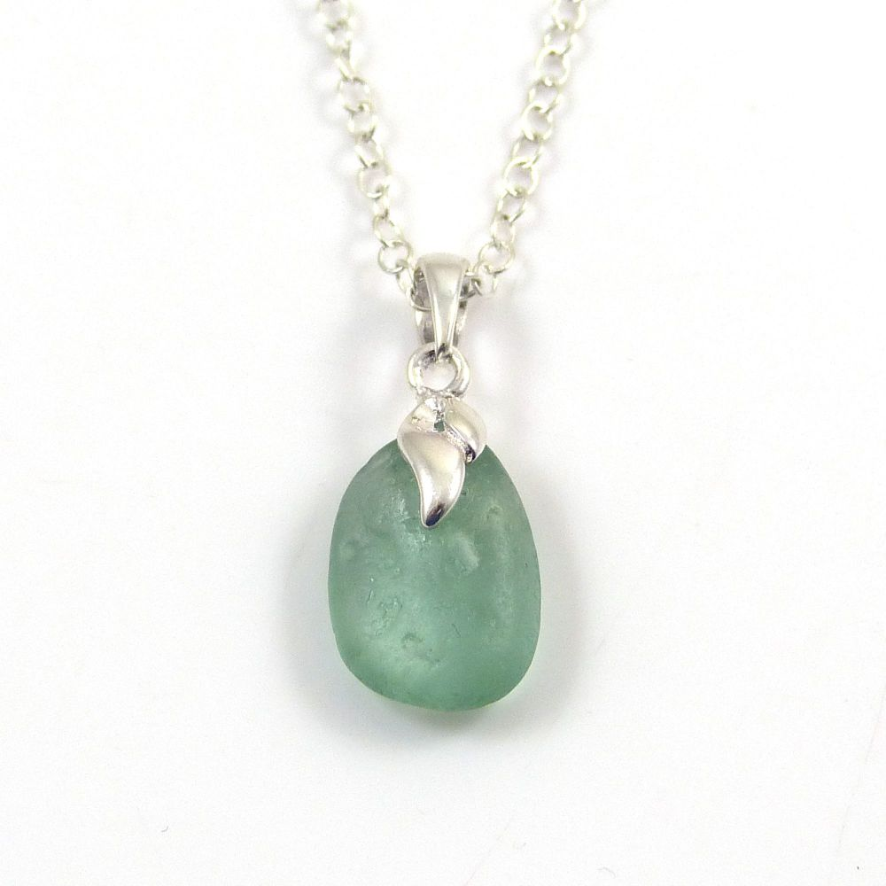 Tiny Teal Grey Sea  Glass Necklace