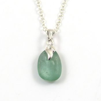 Tiny Pale Teal Sea  Glass Necklace
