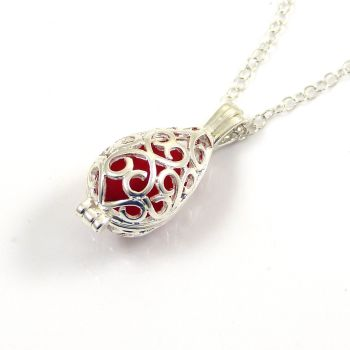 Red Sea Glass Silver Filigree Locket Necklace