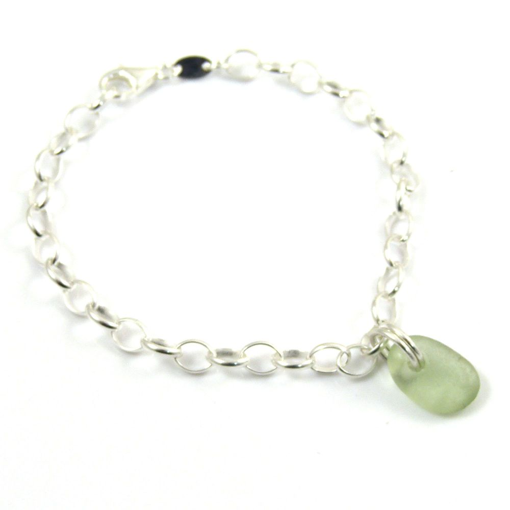 Pale Sage Green Sea Glass and Sterling Silver Chain Bracelet 4mm links  b24