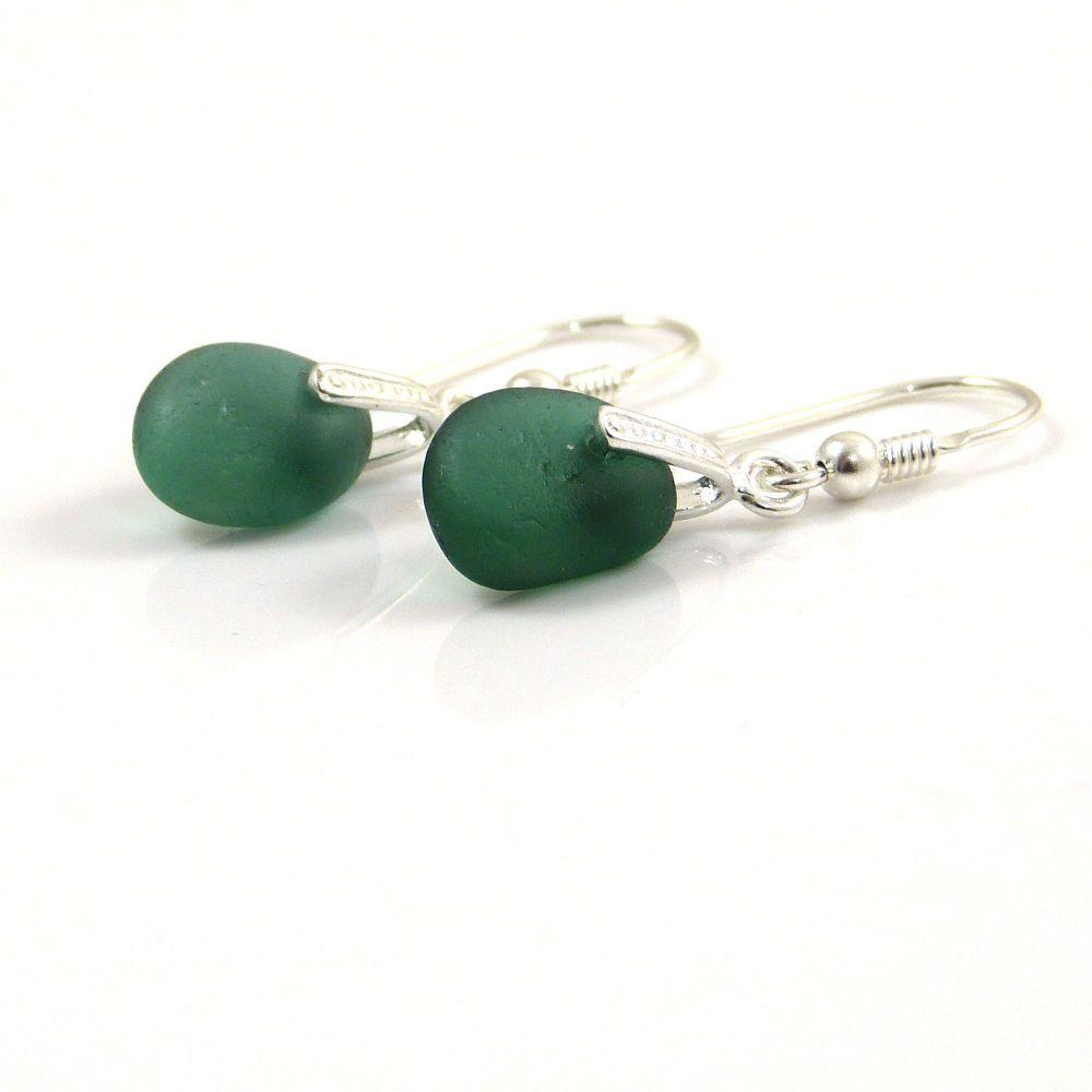Green Blue Sea Glass Drop Earrings e127