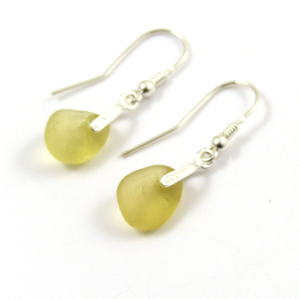 Light Yellow Gold Sea Glass and Sterling Silver Earrings e126