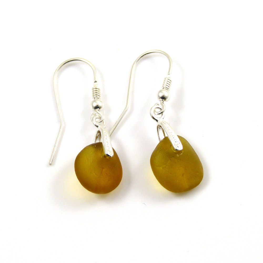 Amber Sea Glass Sterling Silver Drop Earrings e125