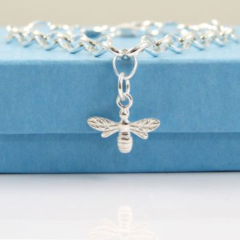 Sterling Silver Bracelet with Silver Bee Charm