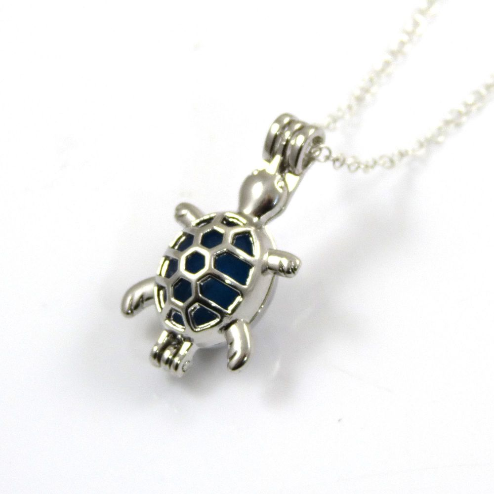 Turquoise Blue Sea Glass Turtle Locket Necklace L105