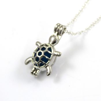 Electric Blue Sea Glass Turtle Locket Necklace L105