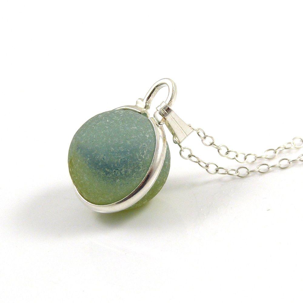 Deep Aquamarine Floating Sea Glass Marble Locket Necklace L106