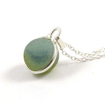 Deep Aquamarine Floating Sea Glass Marble Necklace L106