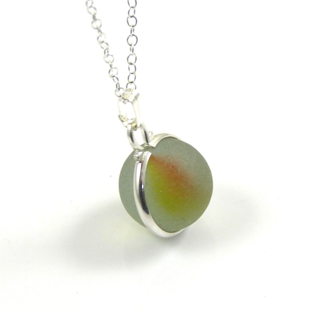 Seamist Sea Glass Floating Marble Locket Necklace L107