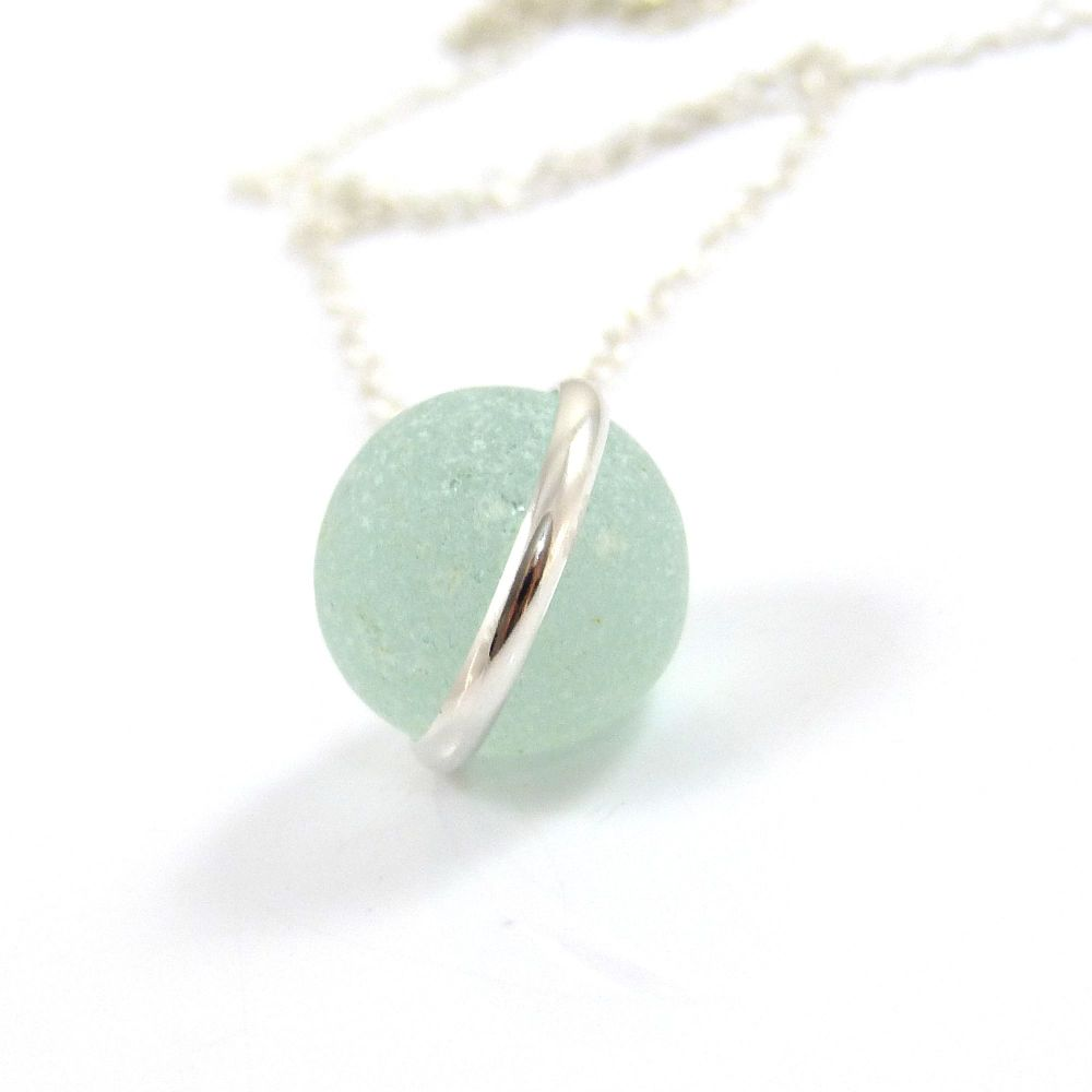 Pale Aqua Sea Glass Floating Marble Necklace L108