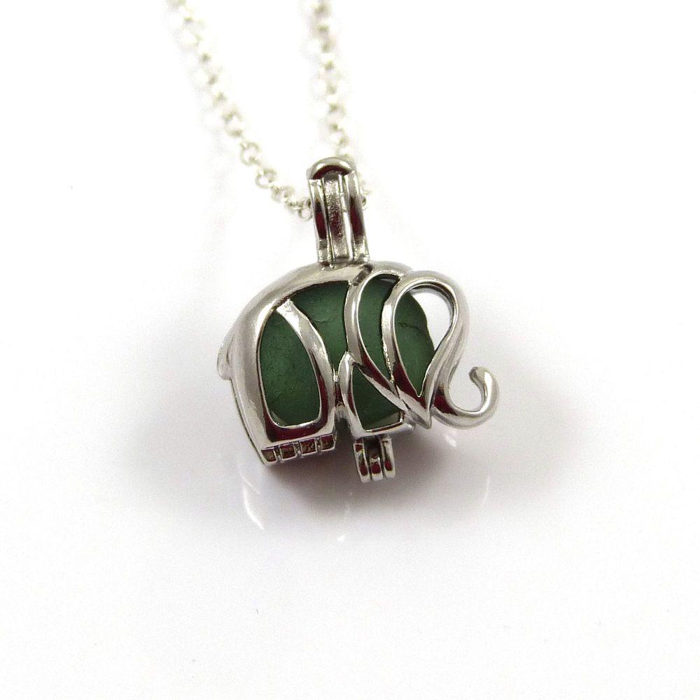 Tiny Sapphire Blue Sea Glass Elephant Locket Necklace L88