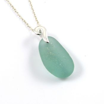 Teal Sea Glass and Silver Necklace  SIRENA