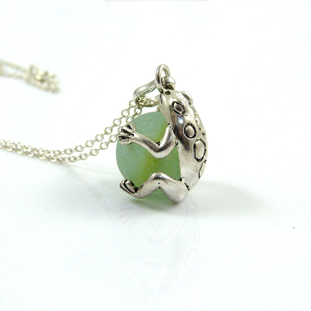 Frog with Sea Green Sea Glass Marble Locket L112
