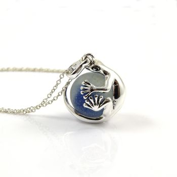 Gecko with Blue Sea Glass Marble Locket Necklace L111
