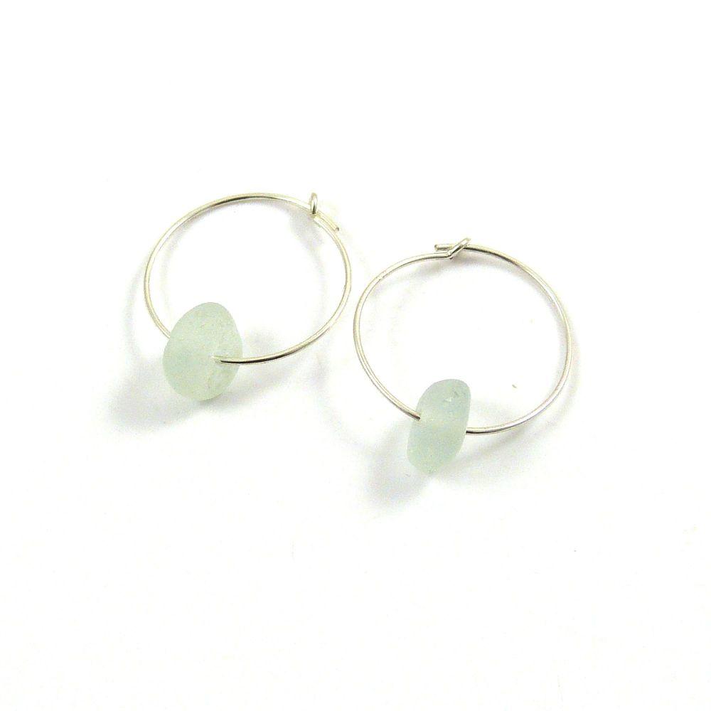 Seaspray Sea Glass Sterling Silver Earrings e129