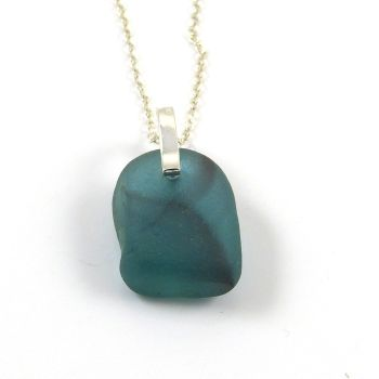 Blue Green Sea Glass Pendant Necklace CHERELL
