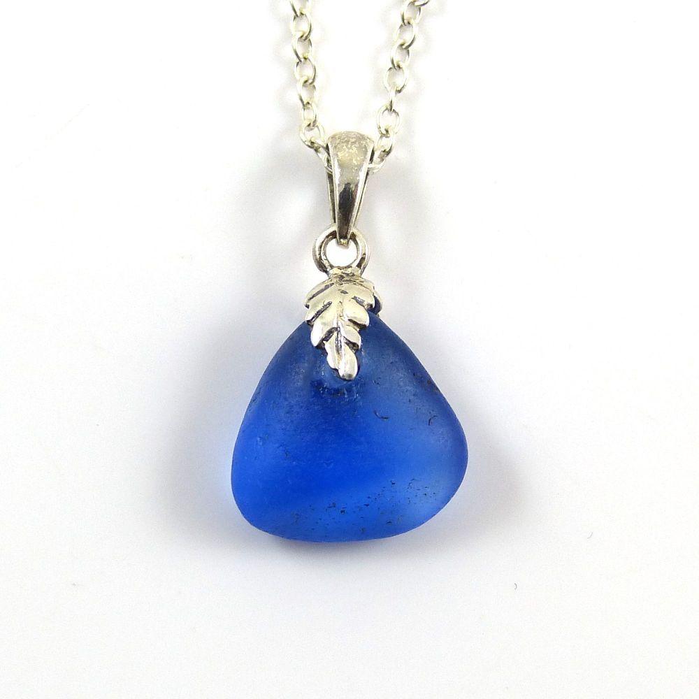 Tiny Cobalt Blue Sea Glass Necklace LILY